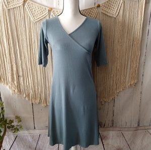 PrAna Dusty Blue/Gray Surplice Midi Dress M